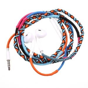 Tribal Braided Cable In-ear 3.5mm Earphone with Mic & Remote Control - Orange / Blue