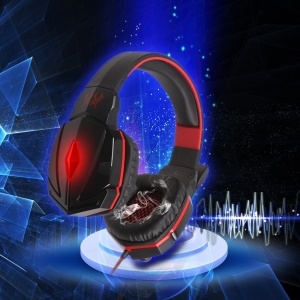 KOTION EACH G4000 Over-ear Stereo Gaming Headphone with Mic Volume Control for PC Games - Black / Red