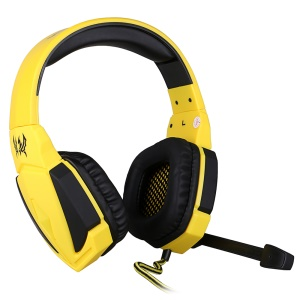 EACH G4000 PC Gaming Stereo Headphone Headset with Volume Control Microphone - Yellow