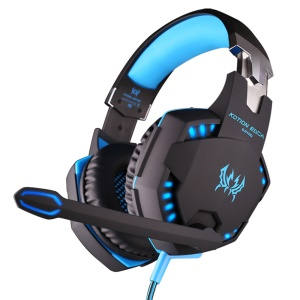 EACH G2100 3.5mm PC Gaming Bass Stereo Vibration Headset Headphone with Mic Volume Control - Black / Blue