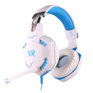 EACH G2100 3.5mm PC Gaming Bass Stereo Vibration Headset with Mic Volume Control - White / Blue