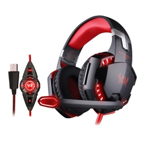 EACH G2200 USB 7.1 Surround Sound Vibration Gaming Headphone Headset with Mic LED Light - Black / Red