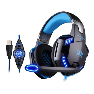 EACH G2200 USB 7.1 Surround Sound Vibration Gaming Casque d'écoute avec Mic LED Light - Noir / Bleu