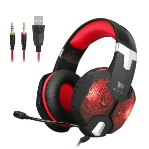 KOTION EACH G1000 Professional 3.5mm PC Gaming Stereo Headset Headphone with Mic LED Light - Red