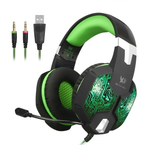 KOTION EACH G1000 Professional 3.5mm PC Gaming Stereo Headphone Headset with Mic LED Light - Green