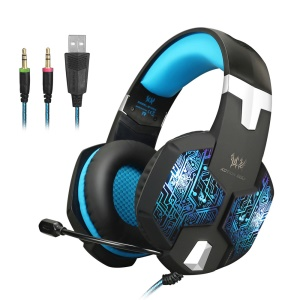 KOTION EACH G1000 Professional 3.5mm PC Gaming Stereo Headphone with Mic LED Light - Blue