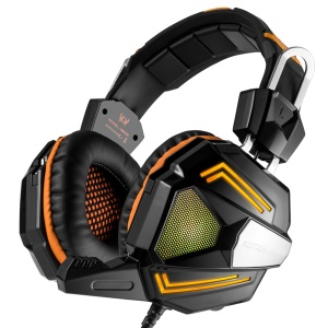 KOTION EACH G5000 3.5mm Stereo Gaming Headset Over-head Bass Headphone with Mic and LED Light - Orange