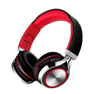 INGEL IP878 3.5mm Wired Foldable Stereo Headphone HiFi Super Bass Over-Head Headset with MIc - Black / Red
