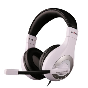 OVANN X4 Professional Gaming Stereo Bass Headset 3.5mm Plug Wired Headphone with Mic - Silver / White