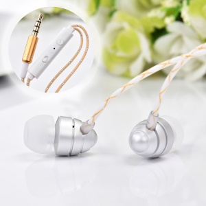 JKR-302 In-ear 3.5mm Wired Earphone with Mic and Remote Control 1.2m - Silver