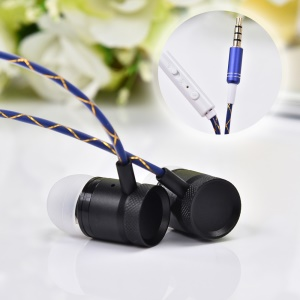 JKR-301 1.2m 3.5mm Wired In-ear Earphone with Mic and Remote Control - Black