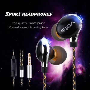 VOTS Y1 Ear Hook Style 3.5mm Wired In-ear Headphone with Mic and Line-in Control for iPhone Samsung Huawei etc - Black / Silver