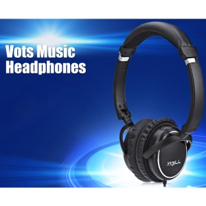 VOTS PT202 3.5mm Plug Over-ear Headphone Folding Portable Wired Headset with Mic for Phones Tablets Computers - Black