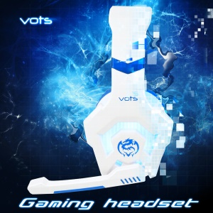 VOTS CH6172 USB + 3.5mm Plug Headphone Over-ear Lighting Game Music Headset with Mic for Phones Tablets Computers - Blue / White