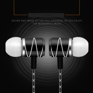 WUW Metal Wired 3.5mm In-ear Earphone with Microphone - Black