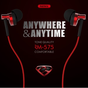 REMAX RM-575 Pro 3.5mm In-ear Earphone with Mic and Line-in Control for iPhone Samsung Sony - Red