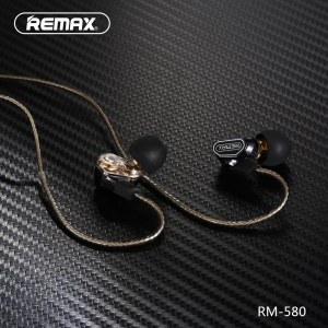 REMAX RM-580 In-ear 3.5mm Dual Moving-Coil Earphone Headphone with Remote and Mic - Black