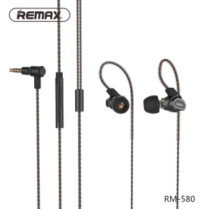 REMAX RM-580 Dual Moving-Coil 3.5mm Wired Ear-hook Earphone Headset with Remote and Mic - Gold Color