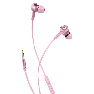 BASEUS Encok Wire Earphone Flat Cable 3.5mm Headset with Mic and Remote Control (H01) - Pink