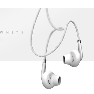 USAMS EP-14 3.5mm Woven Pattern Stereo Earphone Earbud with Microphone - White
