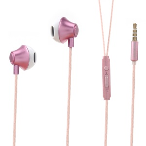 PINZUN P10 3.5mm Flat In-ear Noise Canceling Hands-free Earphone with Volume Control for iPhone Samsung - Rose Gold Color