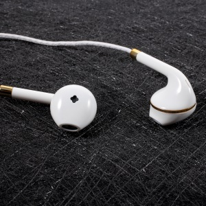 PINZUN P13 3.5mm In-ear Earbud Earphone with Microphone for iPhone Samsung Huawei - Gold Color