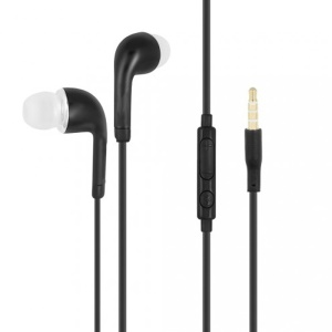 3.5mm Wired Headset In-ear Earphone with Mic and Line-in Control for Samsung Xiaomi Huawei - Black