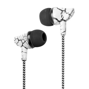 3.5mm Crack Braided Wired Sport Headphone with Microphone Free Headphone for iPhone Samsung Xiaomi etc. - White