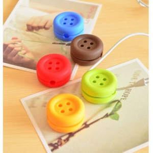 Cute Button Style Earphone Cable Winder Organizer