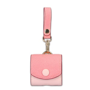 CARTINOE Cross Texture Split Leather Anti-lost Case Holder for Apple Airpods Charging Case - Pink