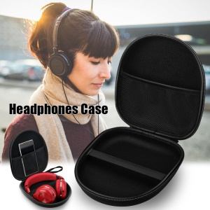 Portable Zippered Round Shaped Earphone Headphone Earbud Carrying Storage Bag Case - Black