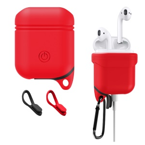 Waterproof Shockproof Silicone Cover Case with Anti-dust Plugs and Carabiner for Apple AirPods - Red