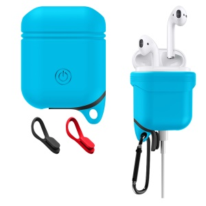 Waterproof Shockproof Anti-dust Silicone Protective Case with Carabiner for Apple AirPods with Charging Case (2016) - Blue