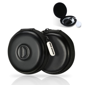 DUX DUCIS Mini Round PU Leather Earphone U-disk Carrying Storage Bag - Black
