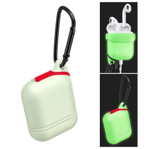 Luminous Waterproof Shockproof Silicone Protective Case with Carabiner for Apple AirPods