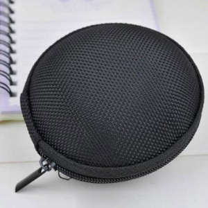 Shockproof EVA Round Earphone Carrying Storage Bag, Size: 8 x 4.8cm - Black