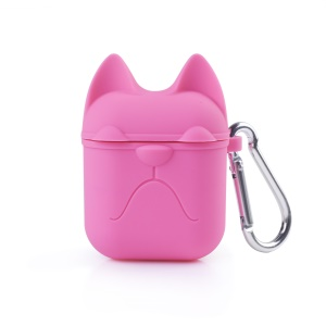 Cat Patterned Soft Silicone Apple Airpods Ear Phone Case - Rose