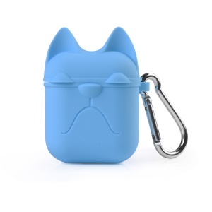 Cat Patterned Soft Silicone Apple Airpods Ear Phone Protector Shell - Blue