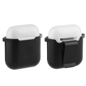Drop Resistance Silicone Protective Cover with Belt Clip for Apple AirPods Charging Case - Black