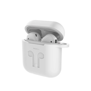 ROCK Silicone Case Shock Proof Protective Cover and Anti-lost Strap for Apple AirPods - White