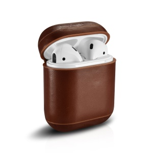 ICARER Vintage Style Genuine Leather Headset Protection Case for Air Pods - Coffee