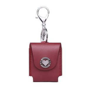 PU Leather Case Anti-lost Protection Pouch for Apple AirPods with Charging Case (2016) - Wine Red