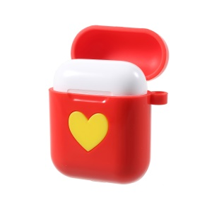 Heart Pattern Flexible Silicone AirPods Cover with Carabiner for Apple AirPods with Charging Case (2016) - Red