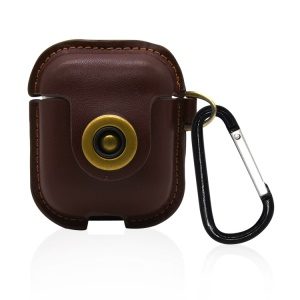 Premium Leather Protective Cover with Hook Keychain for Apple AirPods Charging Case - Brown
