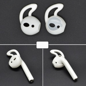 1 Pair of Silicone Ear Hooks Skin Protective Cover for Apple AirPods - White