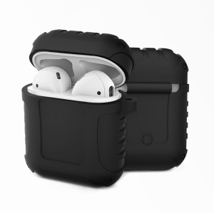 Shock-proof Silicone Protective Shell Cover for Apple AirPods Bluetooth Headset Charging Case - Black