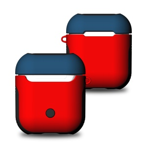 Shock-proof TPU + PC Protection Case for Apple AirPods Bluetooth Headset Charging Case - Blue / Red