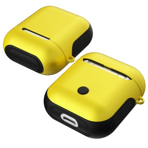 Shock-proof TPU + PC Cover Shell Case for Apple AirPods Bluetooth Headset Charging Case - Yellow
