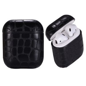 Crocodile Texture Leather Protective Case for Apple AirPods Bluetooth Headset Charging Case - Black