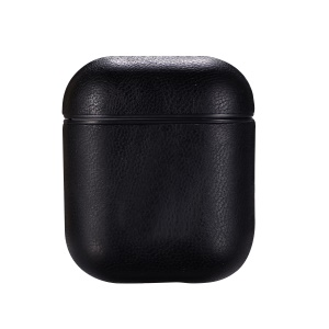 Litchi Skin Leather Protective Case for Apple AirPods Bluetooth Headset Charging Case - Black